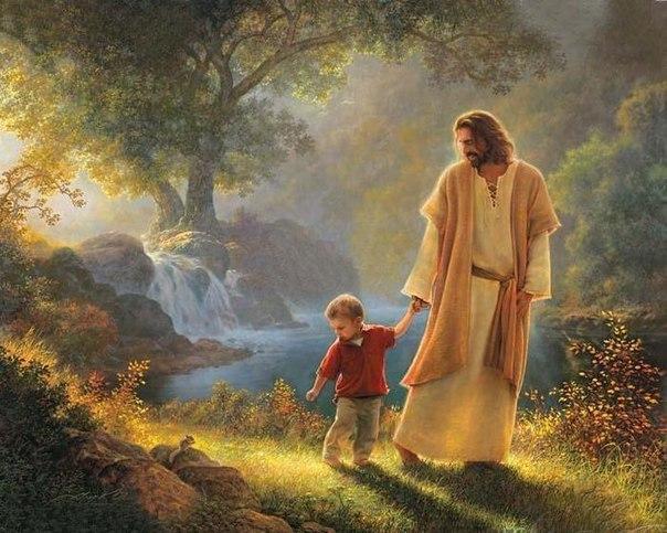 Iisus derzhit za ruku rebenka