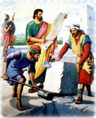 Neemiya stroit steny Ierusalima